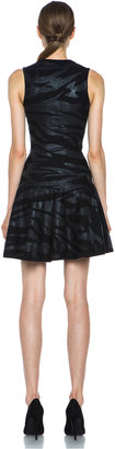 McQ by Alexander McQueen Tiger Lacquer Flirty Wool Dress in Black
