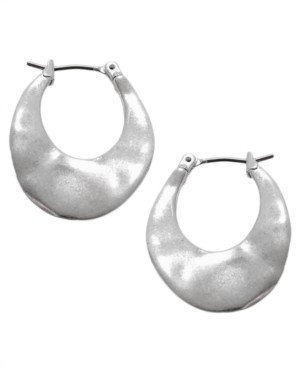 Kenneth Cole New York Silver Small Oval Small Hoop Earrings
