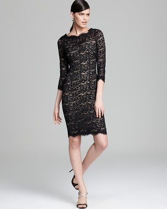Monique Lhuillier Lace Dress - Three Quarter Sleeve with Open Back