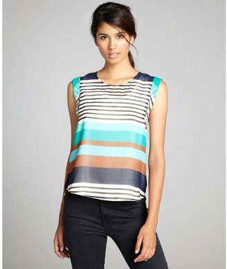 Greylin blue white and brown stripe tank lined sleeveless 'Agatha' top