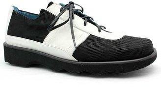 "Thierry Rabotin 7543"" Black/White Microfiber and Leather Oxford"