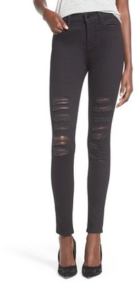 J Brand 'Maria' Destroyed High Rise Skinny Jeans (Blackheart) $198 thestylecure.com