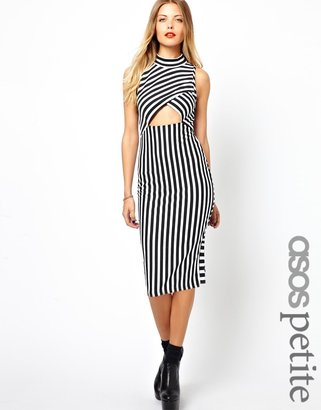 Asos Exclusive Striped Bodycon Dress With Cut Out Front