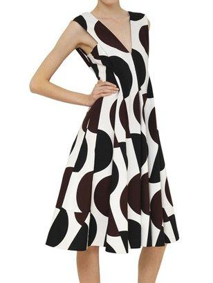 Marni Pleated Printed Cotton Faille Dress