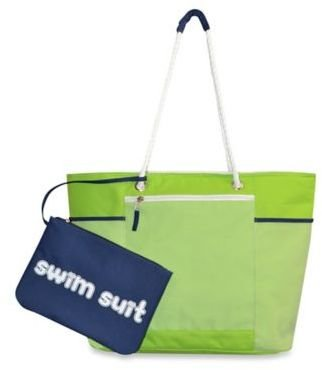 Cabana Striped Beach Tote with Wet Suit Pouch in Lime $19.99 thestylecure.com