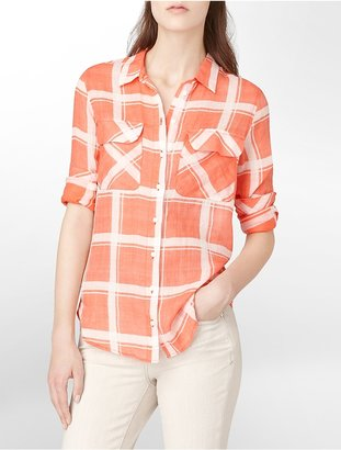 Calvin Klein Jeans Modern Plaid Button-Front Shirt