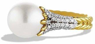 David Yurman Starburst Pearl Ring with Diamonds in Gold