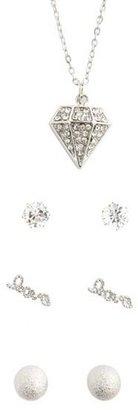 Charlotte Russe Diamond Pendant Earrings & Ring Set