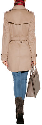 Burberry Wool-Cashmere Mid-Length Kensington Trench Coat in Honey