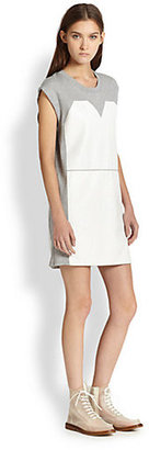 Maison Martin Margiela Leather-Paneled Cotton Jersey T-Shirt Dress