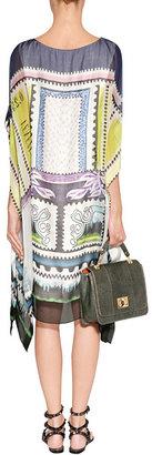 Mary Katrantzou Pearl/Pastel Chiffon Orbit Venezuela Kaftan-Dress