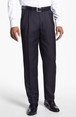 Men's Santorelli 'Luxury Serge' Double Pleated Wool Trousers $195 thestylecure.com