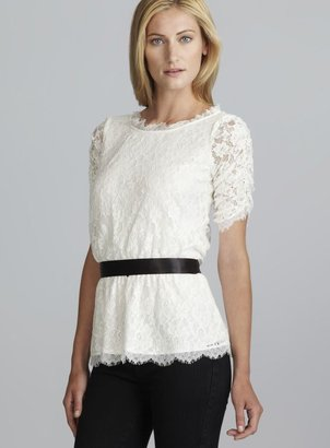 Adrianna Papell Shirred Sleeve Belted Lace Blouse