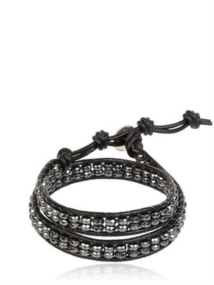 Two Wrap Leather And Hematite Bracelet