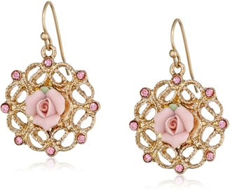 1928 Jewelry Gold Tone Pink Porcelain with Light Rose Accent Filgree Drop Earrings