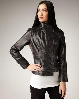 Neiman Marcus Asymmetric Leather Jacket