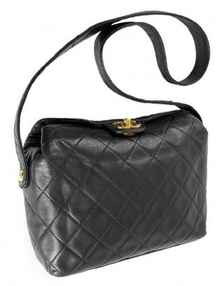 Chanel very good (VG Black Quilted Lambskin Classy Gold CC Small Shoulder Bag
