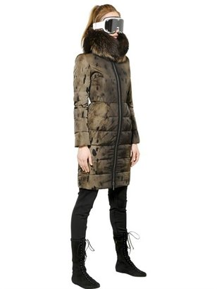 Moncler Gamme Rouge Raccoon On Seal Print Faille Down Jacket