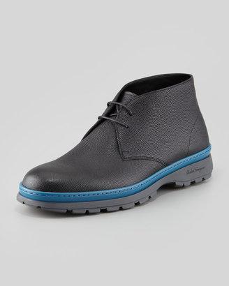 Salvatore Ferragamo Sand Pebbled-Leather Chukka Boot, Black