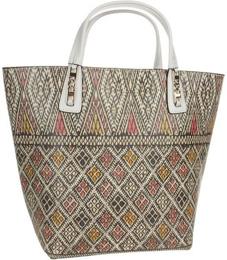 BCBGMAXAZRIA Sienna Leather Tote Bag (White Printed Tapestry) - Bags and Luggage