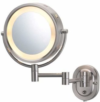 Jerdon HL65N 8-Inch Lighted Wall Mount Makeup Mirror with 5x Magnification