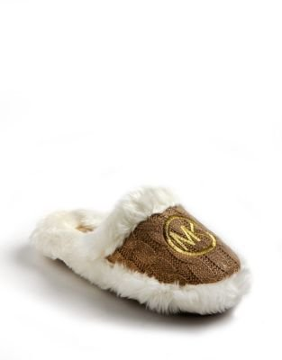 MICHAEL Michael Kors Glitter Embroidered Cableknit Slippers