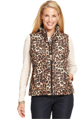 Charter Club Vest, Sleeveless Animal-Print Quilted
