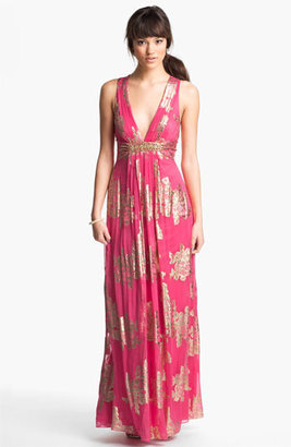 Xscape Evenings Embellished Metallic Chiffon Gown