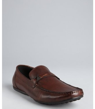 Kenneth Cole Reaction brown leather hook strapped 'Time Away' loafers