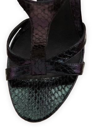 Brian Atwood B by Laetitia Hologram Snakeskin Sandal, Burgundy