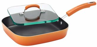 Rachael Ray Porcelain II 11-in. Nonstick Aluminum Deep Square Griddle & Glass Press