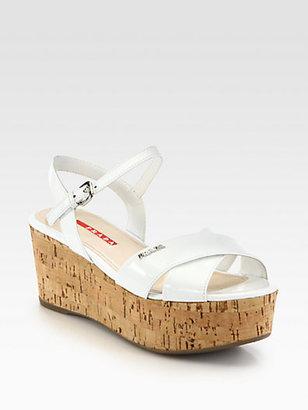 Prada Patent Leather Cork Wedge Sandals