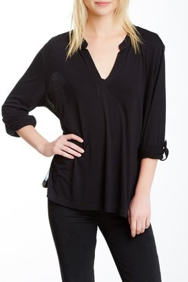 Casual Studio Split Neck Sheer Back Tee