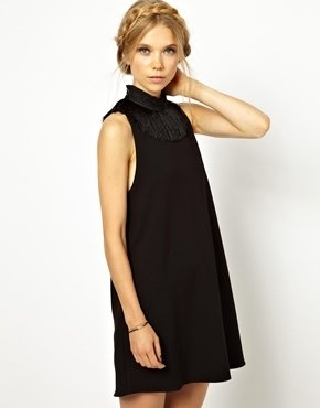 Little White Lies A Line Dress with Fringed Neck - Black