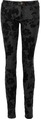 Current/Elliott The Ankle velvet-flocked skinny jeans