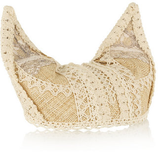 Anna Sui Lace-trimmed woven straw kitten hat