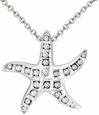 Diamond Fascination Sterling Starfish Pendant with Chain