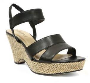 Ellen Tracy Flip Leather Wedge Sandals