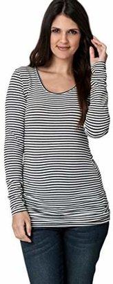 Ripe Maternity Women's Maternity Stripe Scoop Neck Long Sleeve Tee