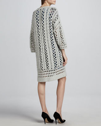 Elizabeth and James Loose-Crochet 3/4-Sleeve Cardigan