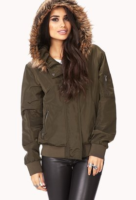Forever 21 Desert Cool Faux Fur-Trimmed Coat