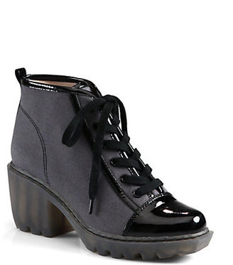 Opening Ceremony Grunge Canvas & Patent Leather Lace-Up Ankle Boots