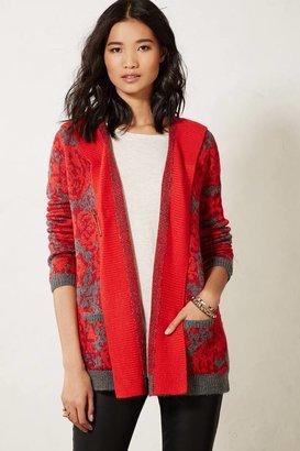 Anthropologie Maraschino Floral Sweater Coat