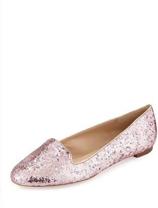 Kate Spade trick glittered smoking slipper, rose gold