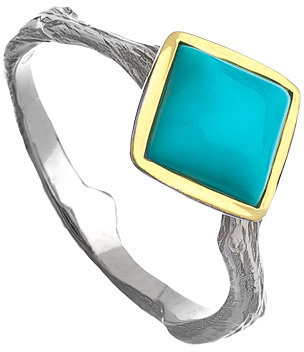 Elizabeth Showers Mixed Metal and Sugarloaf Turquoise Pippa Stacking Ring