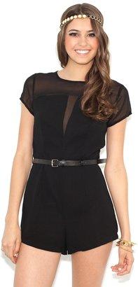 Glamorous Sheer V-Neck Playsuit in Black
