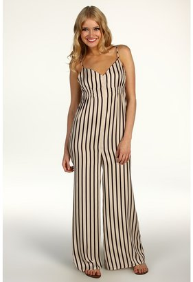 BCBGeneration Low V Striped Jumpsuit (Black Cashmere Combo) - Apparel