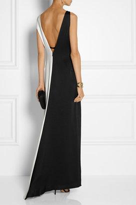 Halston Color-block crepe de chine gown