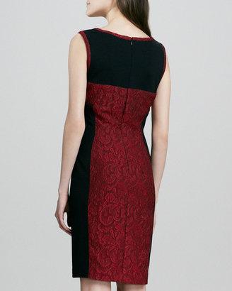 Yoana Baraschi Embroidered Lace Colorblock Sheath Dress