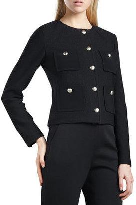 St. John Marocain-Pocketed Boucle Jacket, Caviar